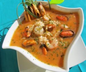 Sopa de arroz a la marinera Thermomix