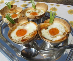 Tacos de pisto con huevo Thermomix