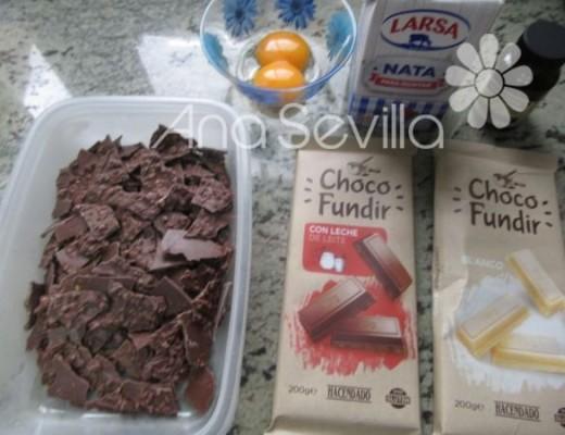 Romper la lámina de chocolate y resto ingredientes