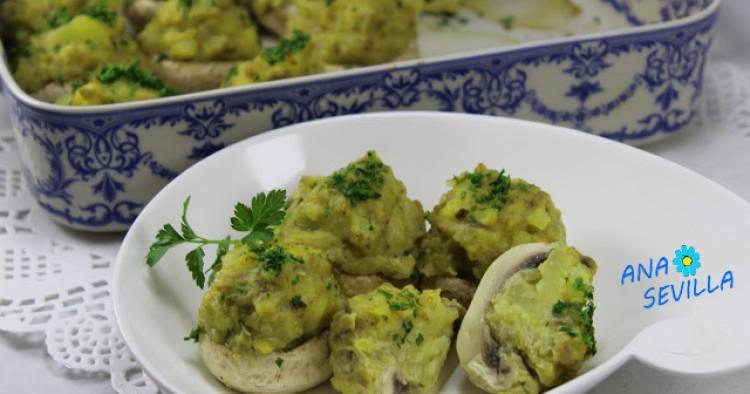 Champiñones rellenos de tortilla