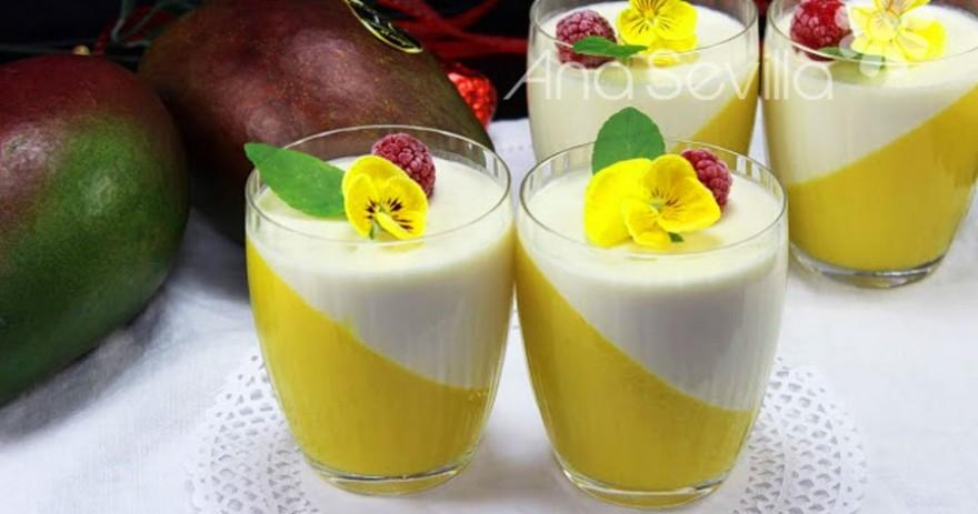 Panna-cotta de nata y mango