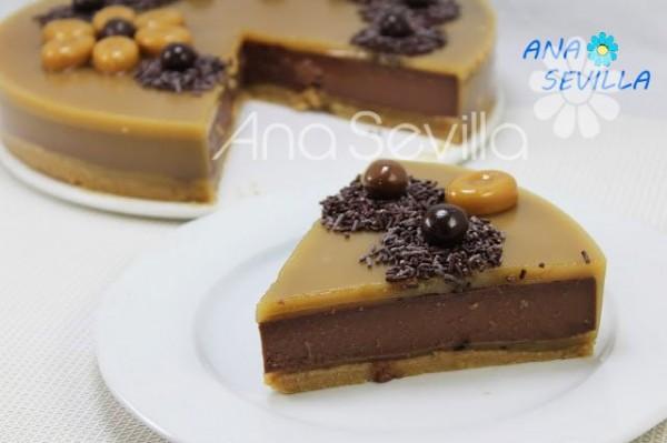 Tarta de chocolate y caramelo porción Thermomix