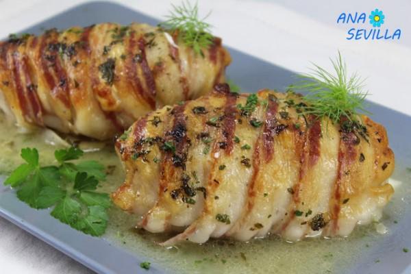 Pechugas envueltas rellenas de queso, Ana Sevilla cocina tradicional