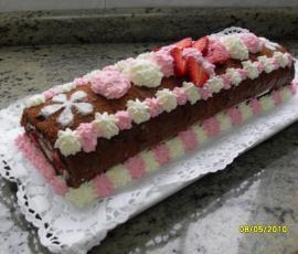Tronco de chocolate,fresas y nata