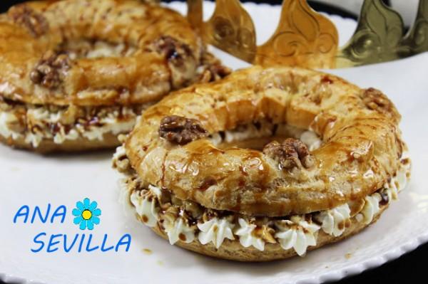 Coronas de nata, nueces y caramelo cocina tradicional Ana Sevilla