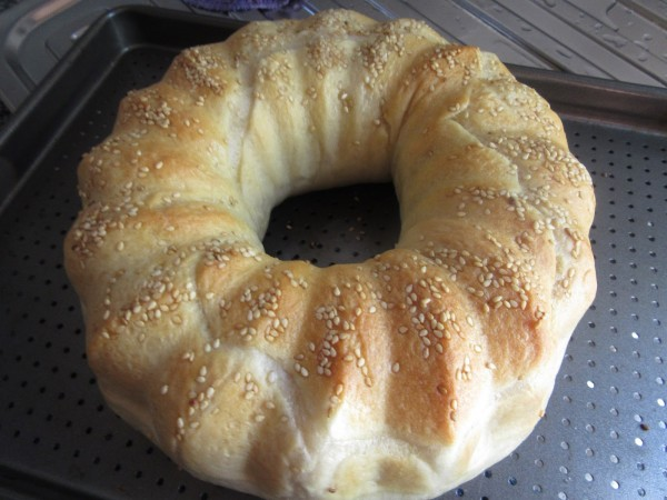 Rosca de pan relleno al vapor con Thermomix