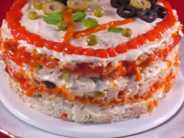 Pastel de ensalada de arroz Thermomix