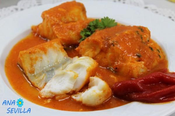 Bacalao en salsa de piquillos cocina tradicional Ana Sevilla