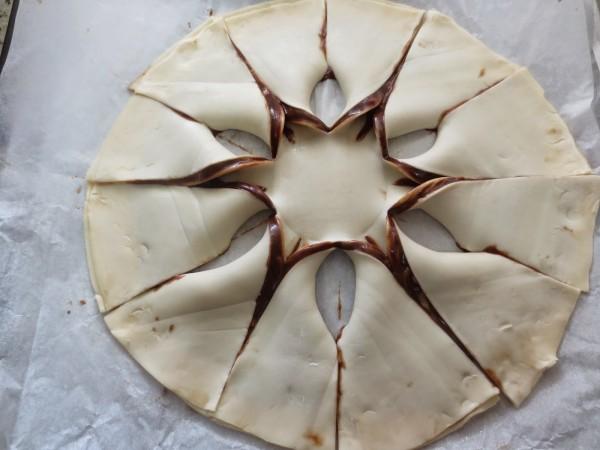 Estrella de hojaldre dos nutellas Thermomix