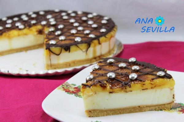 Tarta de ricotta y yema tostada (Sin horno) casera