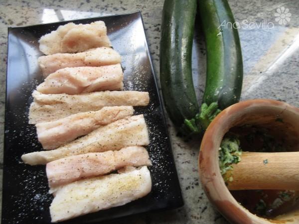 Canelones de calabacín y merluza