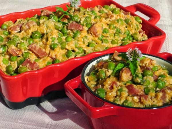 Guisantes con jamón y huevos  Ana Sevilla