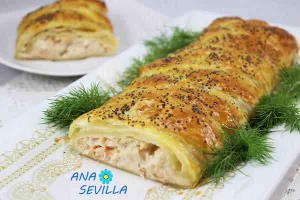 Trenza de hojaldre y salmón fresco cocina tradicional Ana Sevilla