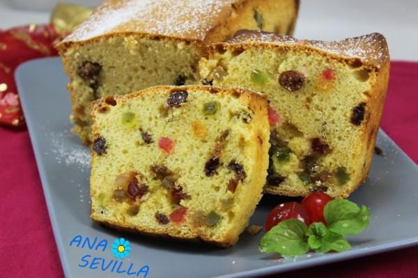 Plum-cake de frutas escarchadas cocina tradicional Ana Sevilla