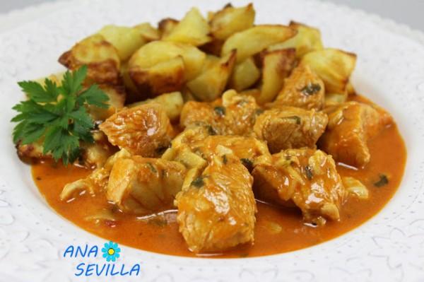 Solomillo de pavo o pollo adobado en salsa Ana Sevilla con Thermomix