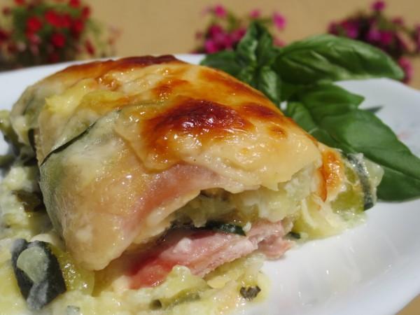 Canelones de calabacín, jamón y queso Ana Sevilla