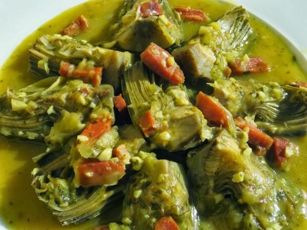 Alcachofas con jamón Ana Sevilla cocina tradicional