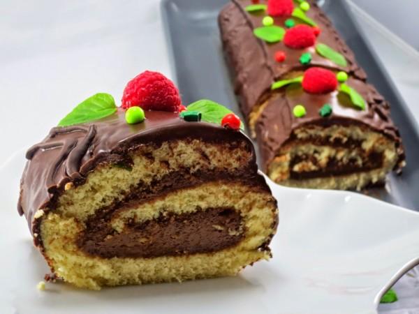Tronco de mousse de turrón y chocolate Ana Sevilla cocina tradicional