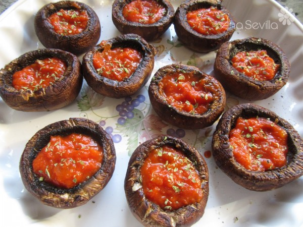 Champiñones pizza Portobello Thermomix