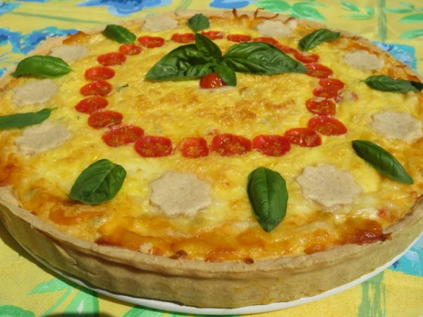 Tarta caprese (Tomate, albahaca y mozzarella) Ana Sevilla