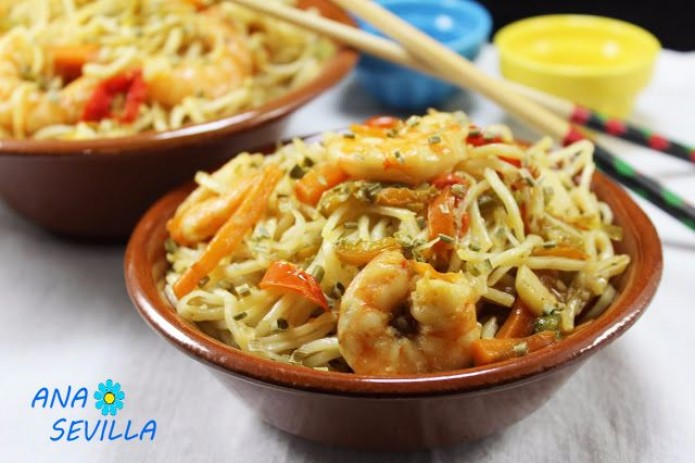 Noodles Con Verdura Y Langostinos Thermomix La Juani De Ana Sevilla