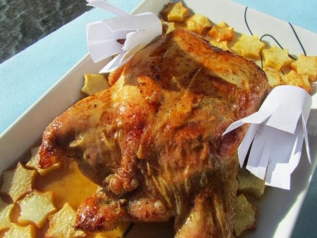 Pollo relleno de carne