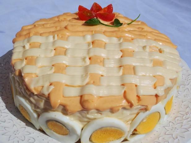 Tarta salada de tortitas