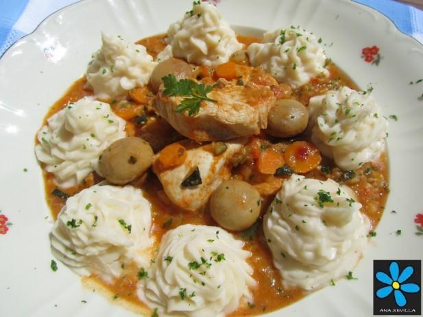 Pollo con verduras y puré Thermomix