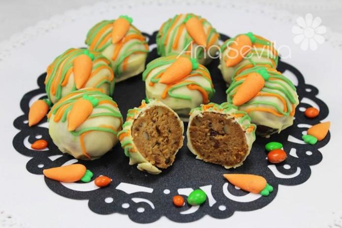 Trufas o cake pops carrot cake